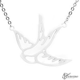 Image of Large Silver Swallow Necklace