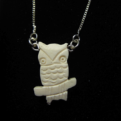 Image of White Bone China Owl Necklace