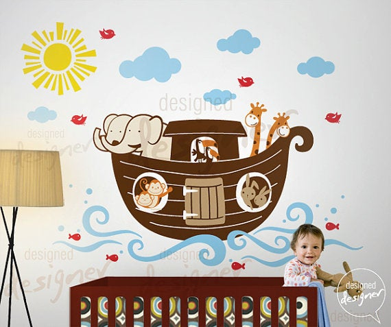 Baby 39 s nursery on pinterest noahs ark nursery noah ark for Church nursery mural