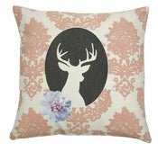 Image of Handmade cushion on natural fabrics – pink deer cameo