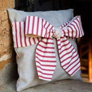 Image of Red Ticking Stripe Bow Cushion
