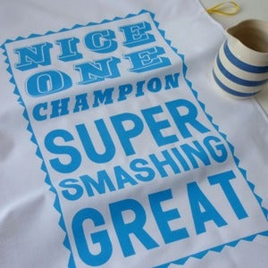 Image of Super Smashing tea towel - sky blue
