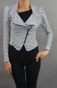Image of Black and white striped motorcycle jacket