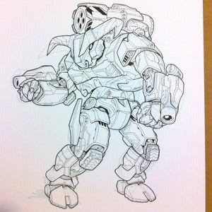 Image of Minotaur P2 Protomech original Battletech artwork