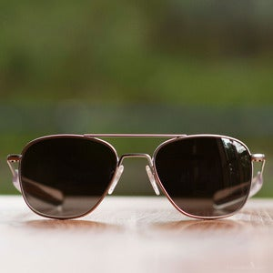 Image of Randolph Engineering Aviator Sunglasses - Matte Chrome Frame Gray Lens
