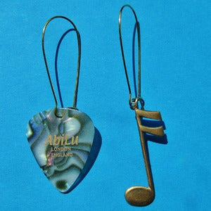 Image of Gold plectrum earrings (various colours)