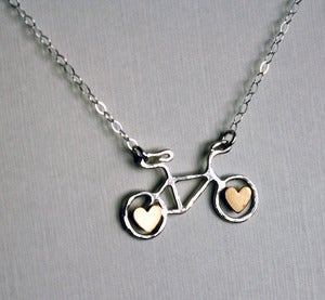 Image of Tiny Sterling Bike Necklace with Hearts