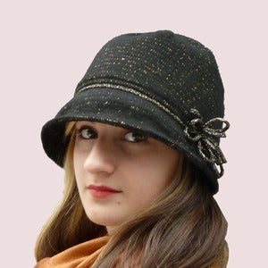 Image of Shimmering Bow Cloche in Black &  Gold Wool Knit