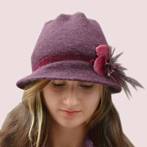 Image of Sweet Softness Cloche in Wine Cashmere Knit