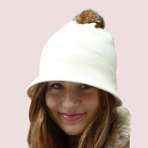 Image of  Pompom Bell Beanie in Winter White Wool Knit