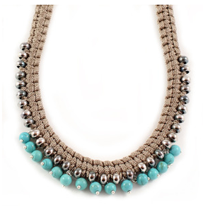 Image of short braid necklace with turquoise howlite beads- beige