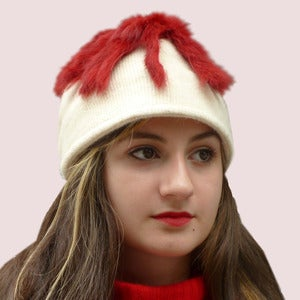 Image of Follow Me Beanie Cap in Cream Knit & Rabbit Fur