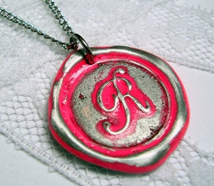 Image of NEON Red Pink Monogrammed Initial Wax Seal Pendant