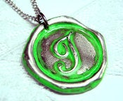Image of NEON Green Wax Seal Pendant by Ritzy Misfit