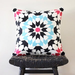 Image of Embroidered Mosaic Linen Cushion Cover 45 x 45 cm (18 inch)