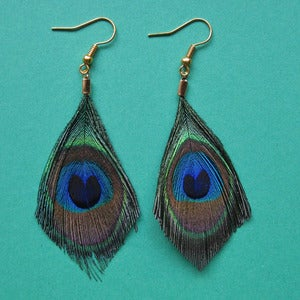 Image of Peacock feather earrings (various sizes)