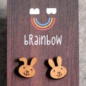Image of Wooden Rabbit Earring