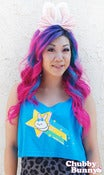 Image of Shooting Star Bunny Oversized Tank Top (Neon Blue)