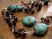 Image of Southwest Drama Turquoise Necklace | Turquoise, Smoky Quartz, Sterling