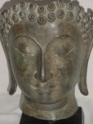 Image of Antique Temple Large Bronze Buddha Head Bust -Striking!