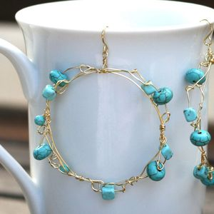 Image of Gold & Turquoise Knotted Earrings