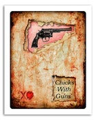 "Image of 8x10"" Paper Print - Hearts & Headlines - Chicks With Guns"