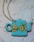 Image of Blue Enamel Teapot Necklace