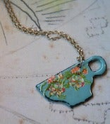 Image of Blue Enamel Teacup Necklace