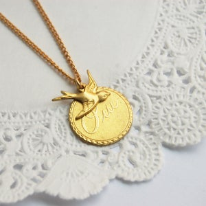 Gold Oui and Bird necklace