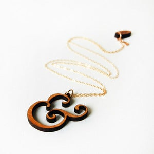 Wooden Ampersand Necklace 