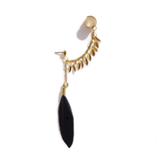 Image of Black feather and teardrop ear cuff (golden)