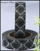 Image of Black &amp; White Damask Japanese Washi Tape - Ophelia Regal Damask - 15mm x 10m