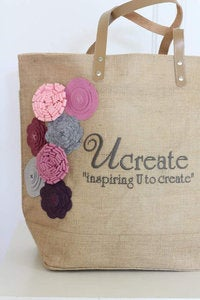 Image of embroiderd BLOG NAME BAG with 8 felt flowers in your blog colors