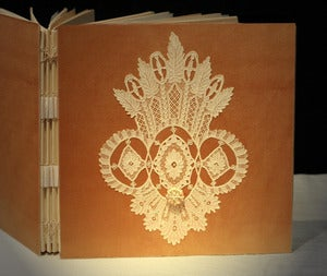 Image of Custom Wedding Photo Album, Point de Gaze OOAK,  Handmade Personalized