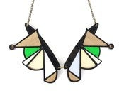 Image of Black &amp; green geometric collar necklace