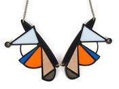 Image of Black &amp; orange geometric collar necklace