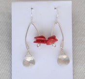 Image of fish lure inspired swavorski crystal &amp; red coral