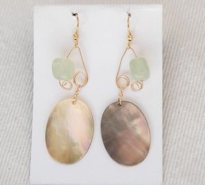Image of fish lure inspired abalone shell &amp; sea green in Gold