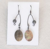 Image of fish lure inspired abalone shell & balck pearl in oxidized sterling silver