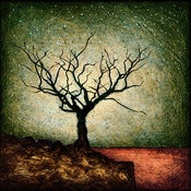 "Image of 12x12"" Panel Print - Horizon Series - Dormant Tree 4 Green/Yellow"