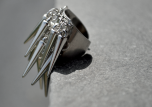 Image of silver dangling spikes ring