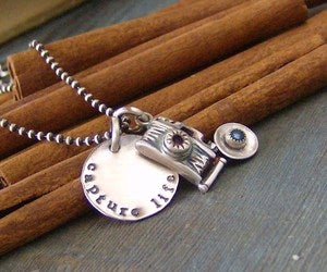 Image of Capture Life hand stamped sterling silver and gem stone phtography necklace
