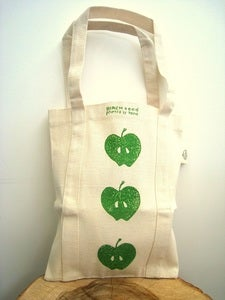 Image of hand blockprinted bag - small mama - red love hearts or green apples