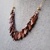 Image of AUTUMN - Copper Leaf & Gold Chain Necklace