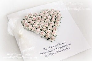 Image of wedding heart in ivory &amp; pink gift boxed