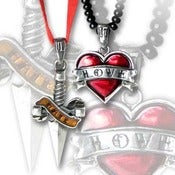 Image of Love / Hate Tattoo Pendant Necklace