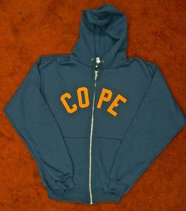 Image of Embroidered Zip Hoodie - Navy Blue/Orange 