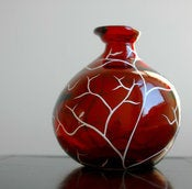 Image of Festive White Tree on Red Glass Vase--Limited Edition