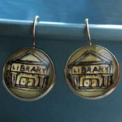 Image of Librarian Library Building Earrings