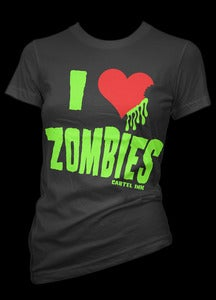 Image of I Love Zombies Girls T-Shirt Style # 3112